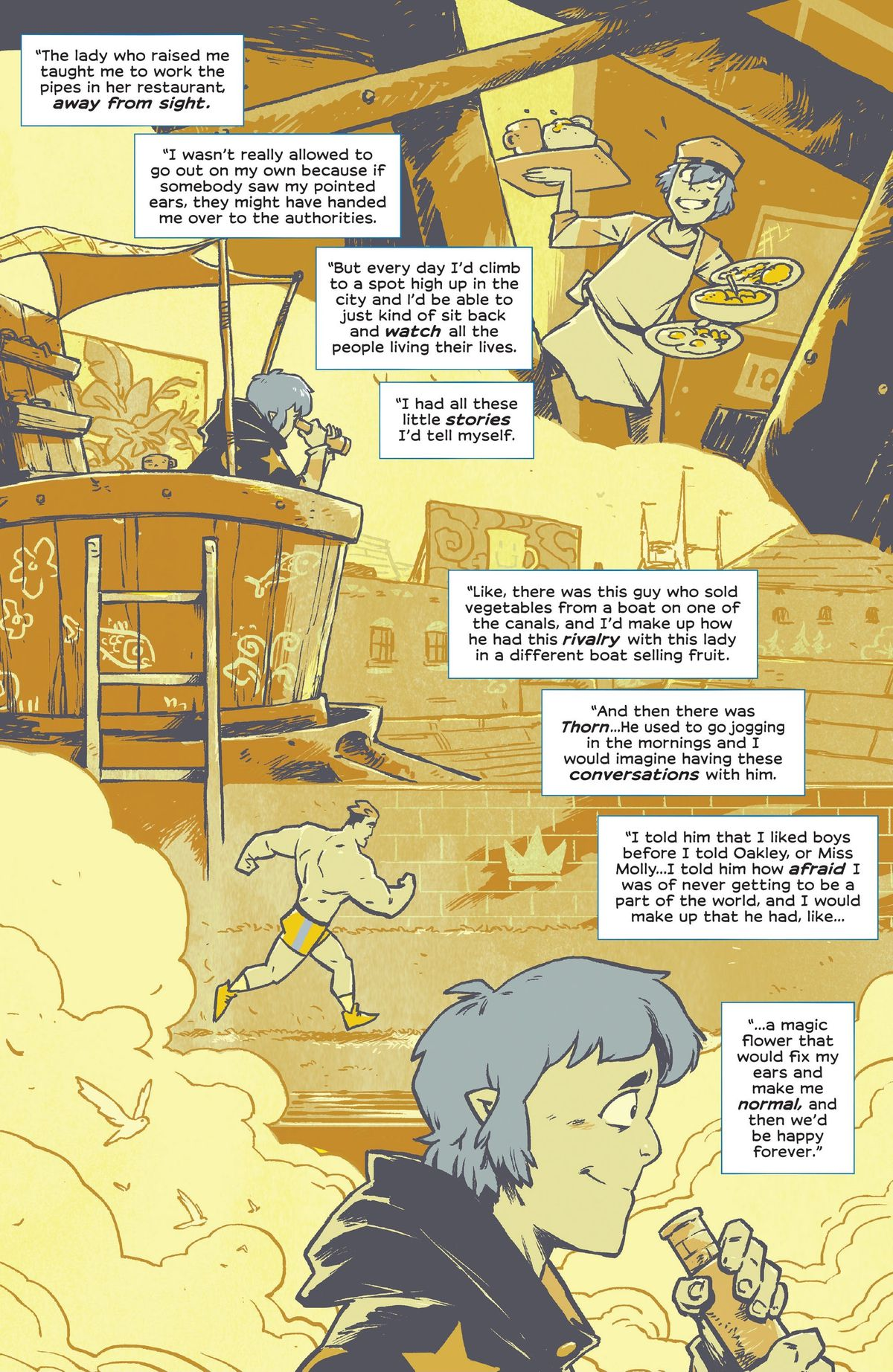 Wynd recalls his adolescence hiding his strange nature and daydreaming about a world in which he can date the cute guy he sees working out every day in Wynd #9 (2021).