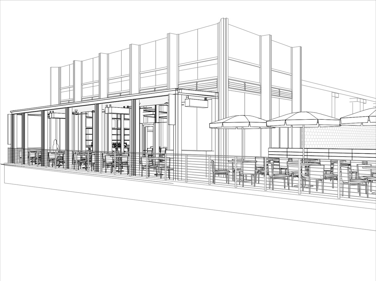A rendering of patio seating at the Grill.