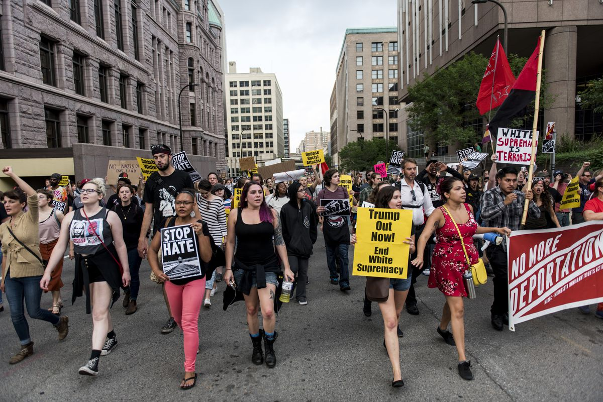 Rally In Solidarity With The Victims Of Charlottesville Held In Minneapolis