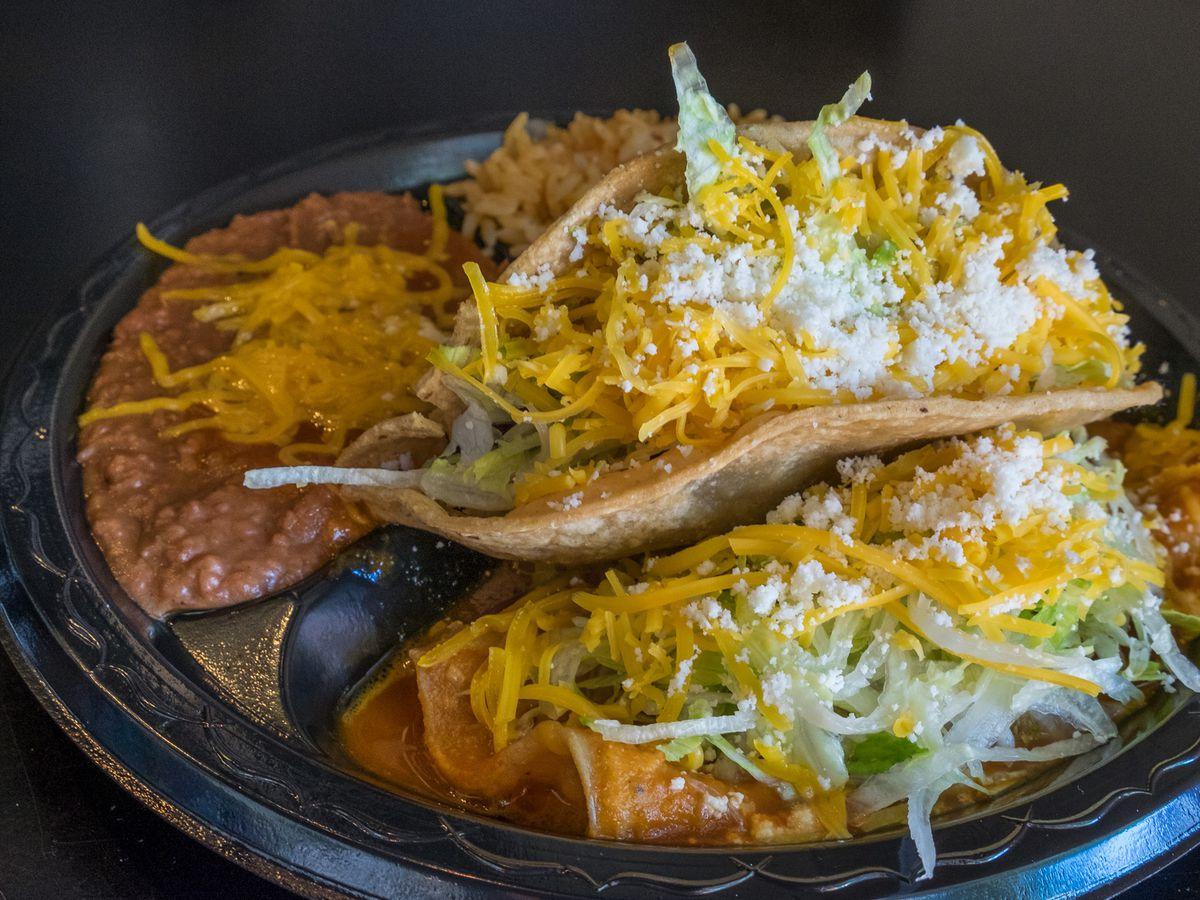 Taco and enchilada plate at Lolita's near Petco Park