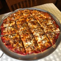 Tavern-style thin crust pizza at Pat's in Chicago. | Sun-Times Staff