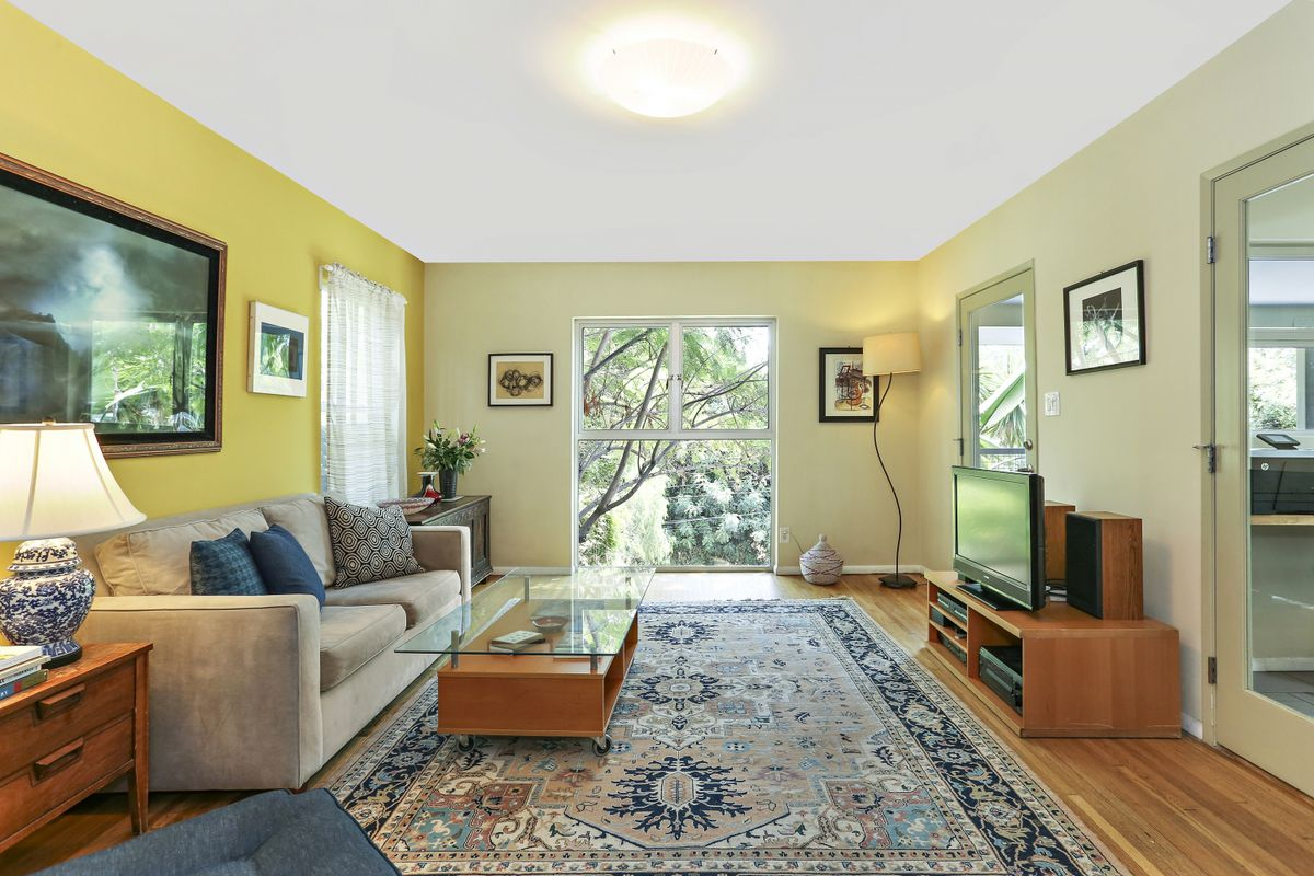 Interior of living room with wide window