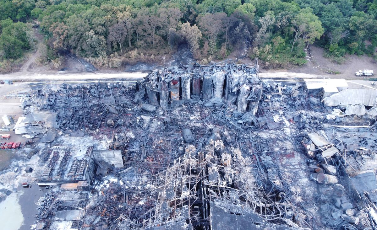This aerial photo shows large containers still standing at the destroyed Chemtool plant in Rockton. Officials worry that more than one million gallons of oil stored at the site is a threat to the Rock River.