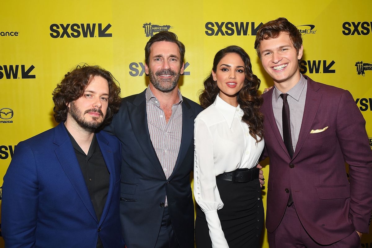 Edgar Wright, Jon Hamm, Eiza González, and Ansel Elgort at SXSW's 'Baby Driver' premiere. (GettyImages)