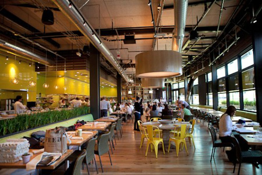 True Food Kitchen Design inside true food kitchen at santa monica place - eater la