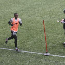 Trainer Nik Wald gave players feedback as they ran.