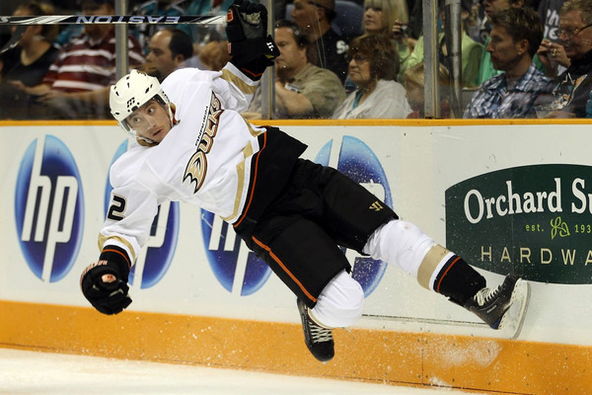 SAN JOSE CA - SEPTEMBER 24:  Dan Sexton #42 of the Anaheim Ducks loses his footing during their preseason game against the San Jose Sharks at HP Pavilion on September 24 2010 in San Jose California.  (Photo by Ezra Shaw/Getty Images)