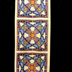 Vintage scarf with Art Deco stained glass print, $16