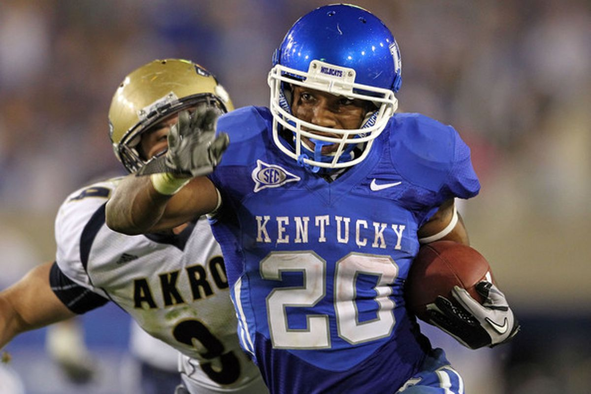 Donald Russell runs the ball against the University of Akron at Commonwealth Stadium in Lexington, Ky on Sept. 18, 2010. Photo Courtesy of NationofBlue.com.
