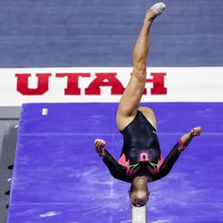 Utah's Jaylene Gilstrap competes on the beam during a meet against Arizona at the Huntsman Center in Salt Lake City on Saturday, Jan. 23, 2021.