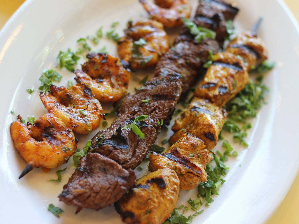 Shrimp, steak and lamb skewers can be ordered at the Crazy Pita Rotisserie & Grill.