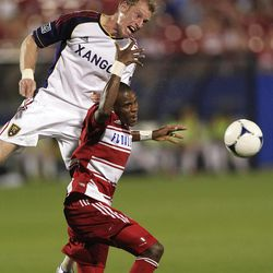 Real Salt Lake's Nat Borchers, top, and FC Dallas Jackson (6) vie for control of the ball during the second half of an MLS soccer game on Wednesday, April 25, 2012, in Frisco, Texas. The teams played to a 1-1 tie. (AP Photo/LM Otero)