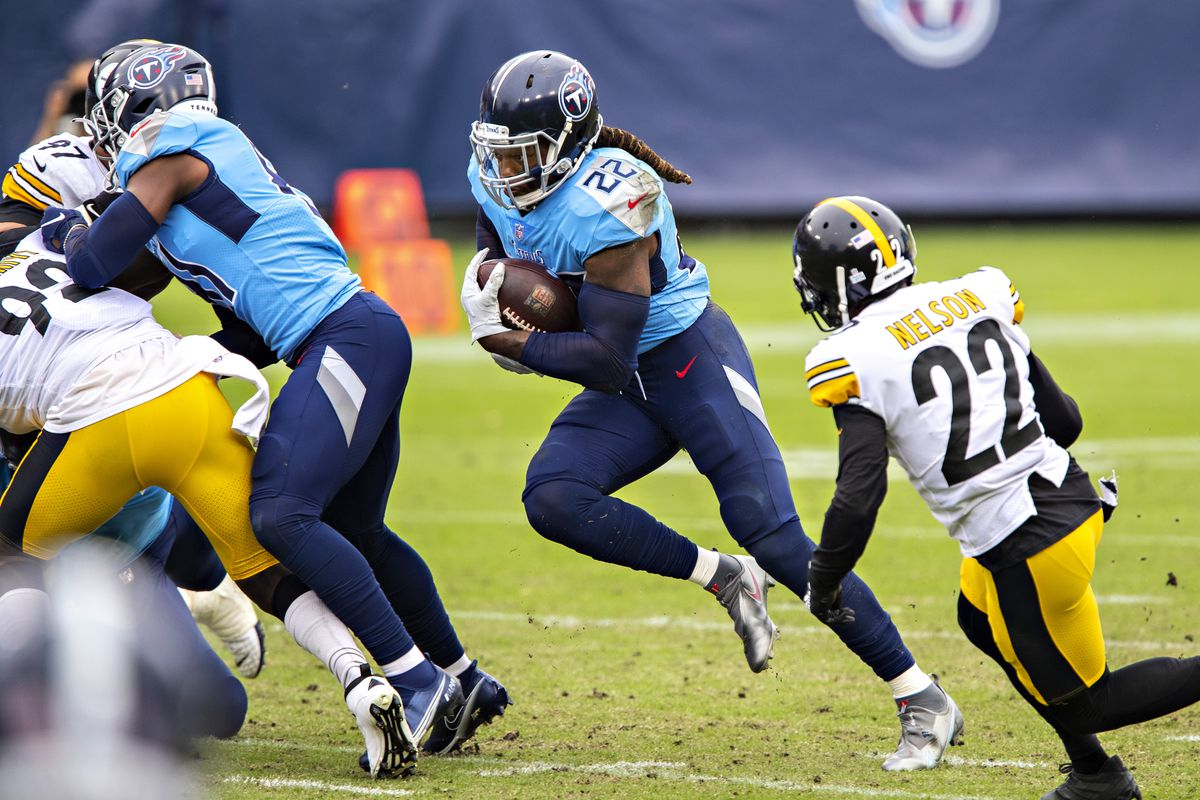 Derrick Henry #22 of the Tennessee Titans runs the ball in the second half of a game against the Pittsburgh Steelers at Nissan Stadium on October 25, 2020 in Nashville, Tennessee.