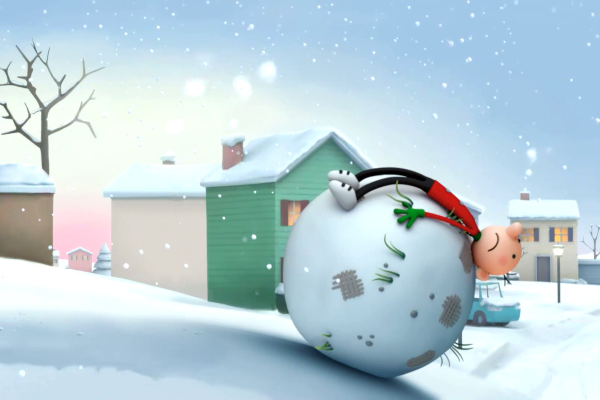 Greg Heffley lies despondently on top of a giant snowball in an image from Disney Plus' Diary of a Wimpy Kid animated series.