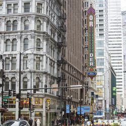"""The Oriental Theatre marquee is transitioned to """"Nederlander"""" on February 5, 2019. 