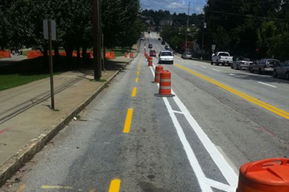 A photo of the freshly installed two-way bikeway on 10th Street, as seen in 2013.