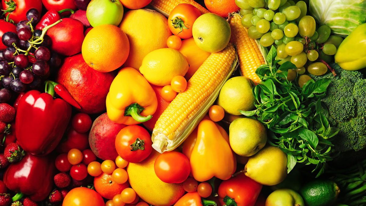 Different kinds and colors of produce laid out