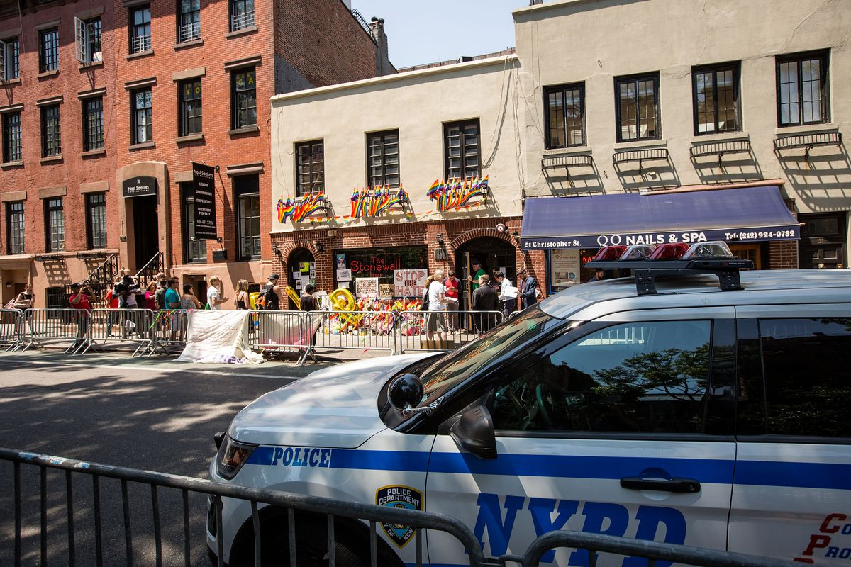 Police car in front of Stonewall Inn