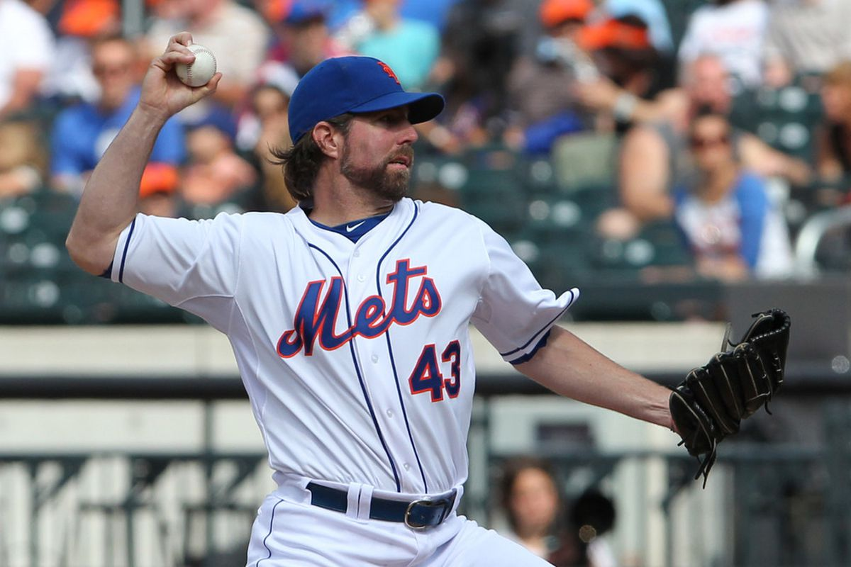 June 2, 2012; Flushing, NY,USA;  New York Mets starting pitcher R.A. Dickey (43) pitches during the first inning against the St. Louis Cardinals at Citi Field.  Mandatory Credit: Anthony Gruppuso-US PRESSWIRE