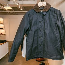 """<b>The Real McCoy's</b> jacket, <a href=""""http://store.inventorymagazine.com/collections/jackets/products/n-1-deck-jacket"""">$850</a>"""