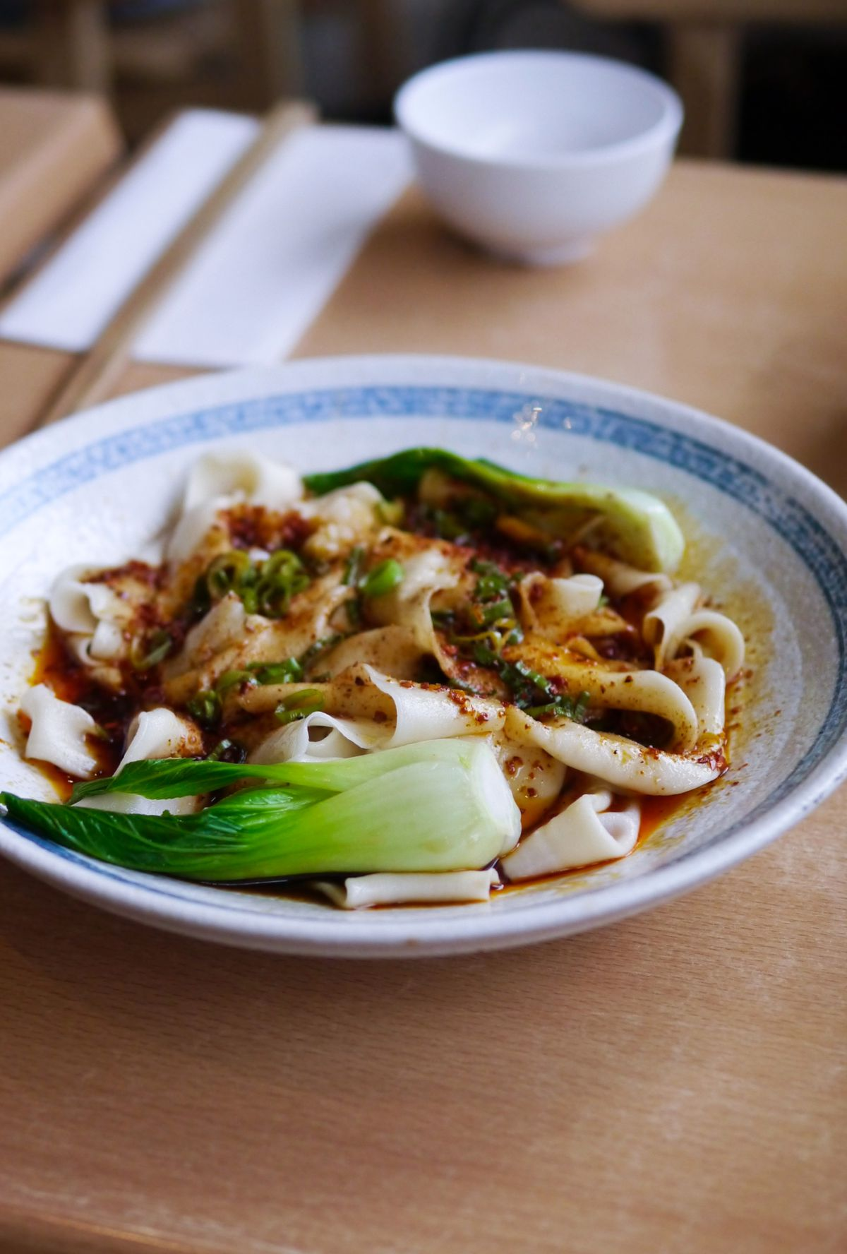 Biang biang noodles with greens and chilli oil at Xi'an Impression, a Xi'an Chinese restaurant in north London