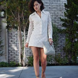 """Karla of <a href=""""http://karlascloset.com""""target=""""_blank""""> Karla's Closet</a> is wearing a dress from Shareen Vintage, Isabel Marant heels and a <a href=""""http://www.barneys.com/on/demandware.store/Sites-BNY-Site/default/Product-Show?pid=00505022131997&utm"""