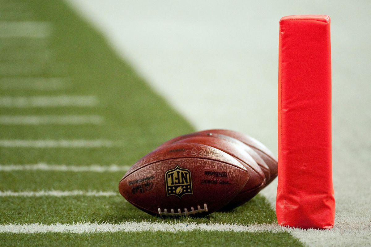Aug 10, 2012; Detroit, MI, USA; A detailed view of footballs and the goal line marker before the preseason game between the Detroit Lions and the Cleveland Browns at Ford Field. Mandatory Credit: Tim Fuller-US PRESSWIRE