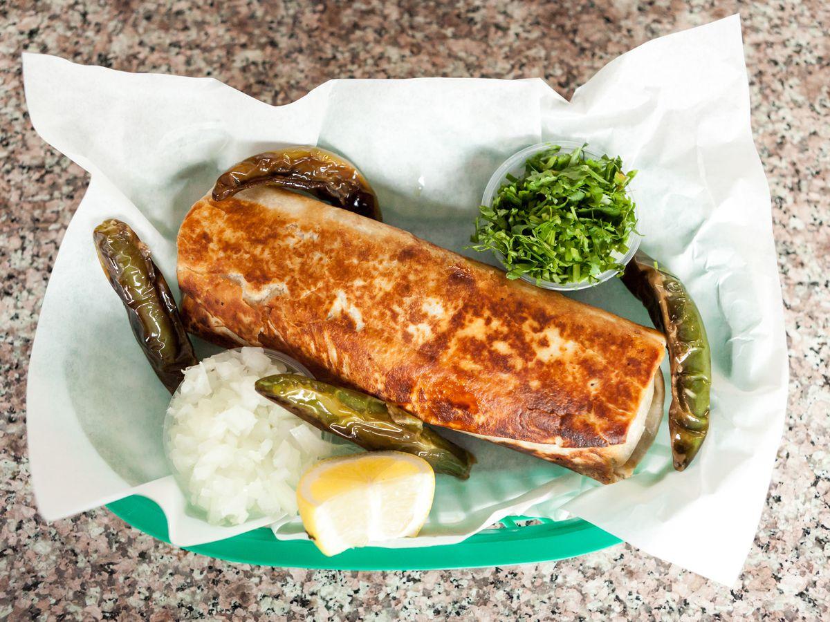 A dorado burrito at La Taqueria
