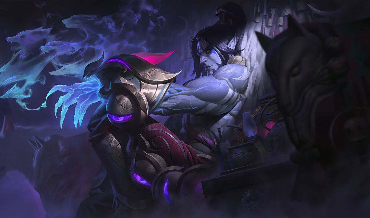 Lunar Wraith Sylas reclines while staring at the viewer from the side of his eye