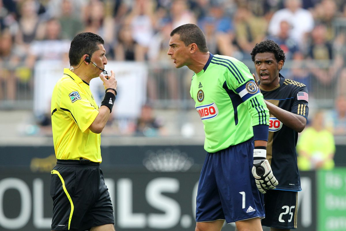 CHESTER, PA - JUNE 11: Goalkeeper Faryd Mondragon #1 of the Philadelphia Union argues a call during a game against Real Salt Lake at PPL Park on June 11, 2011 in Chester, Pennsylvania. The game ended 1-1. (Photo by Hunter Martin/Getty Images)