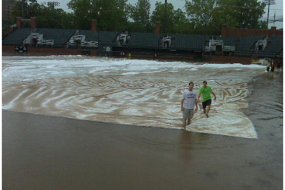 Hawkins Field on Sunday afternoon. Scroll down to see what it looks like just two days later.