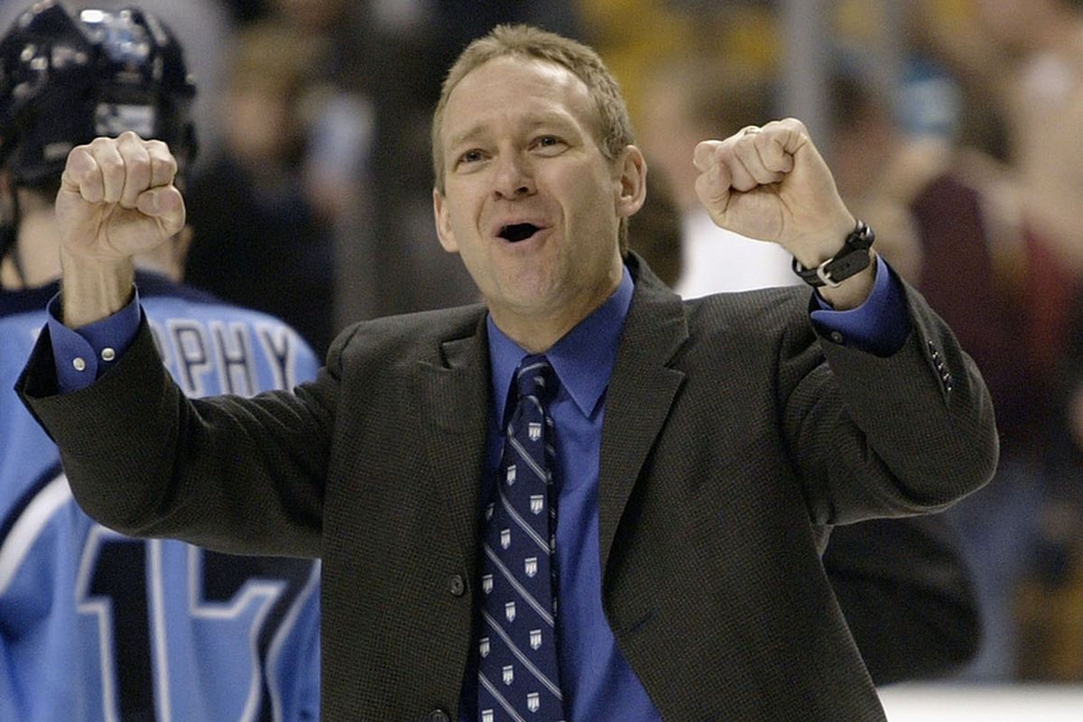 Tim Whitehead celebrating happier times in Orono. The 12th year head coach was relieved of his duties today.
