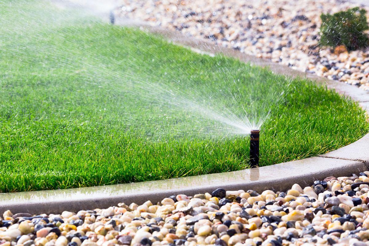 Automatic sprinklers watering lawn.