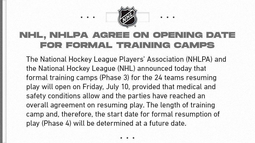 NHL Return to Play Phase 3