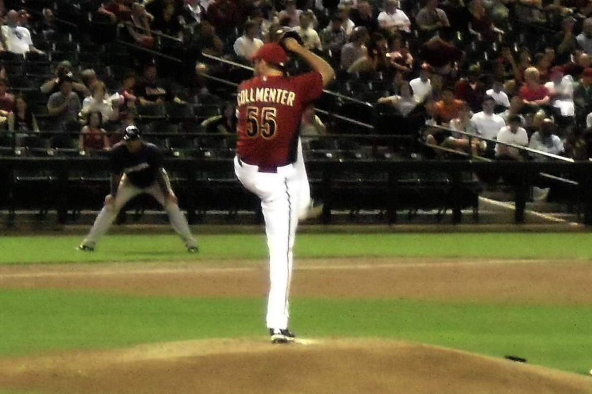 Josh Collmenter during tonight's start against the Brewers. Did he do enough to save his starting job?