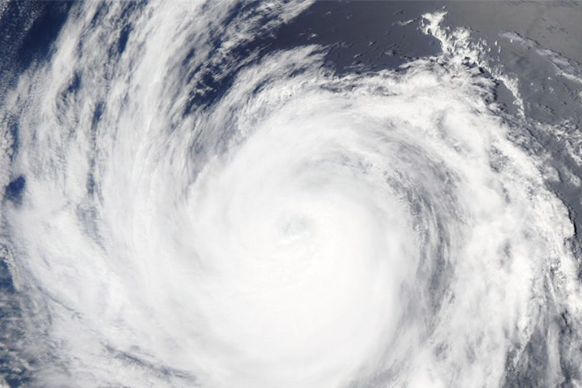 Satellite photo of a hurricane in the Pacific.
