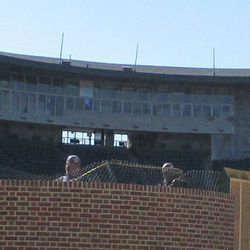 Right-field basket being installed -