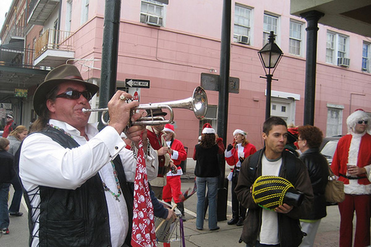 A trumpeter at Christmas time in New Orleans.