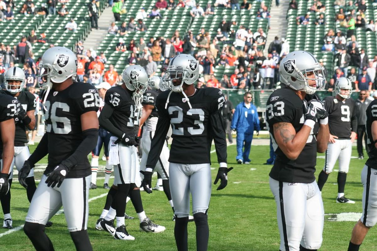Oakland Raiders cornerbacks Stanford Routt and Demarcus Van Dyke prepare for a game at Oakland coliseum (photo by Levi Damien)