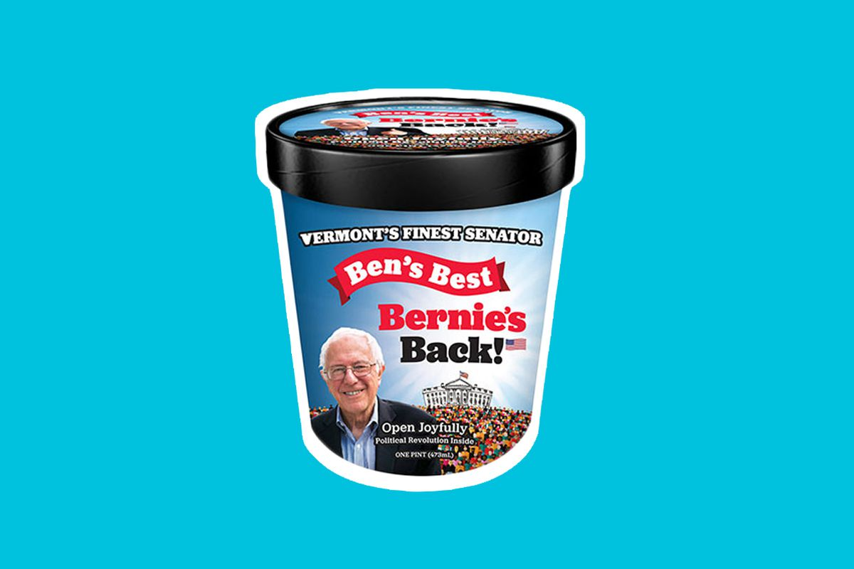 """A pint of ice cream with Bernie Sanders' face and """"Bernie's Back!"""" on it, on a teal background."""