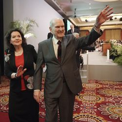 President Russell M. Nelson of The Church of Jesus Christ of Latter-day Saints and his wife, Sister Wendy Nelson, wave to attendees after a devotional in Jakarta, Indonesia, on Nov. 21, 2019.