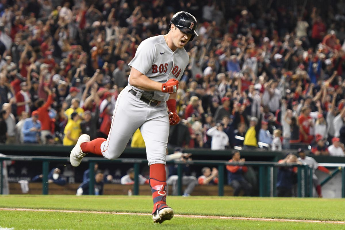 Hunter Renfroe #10 of the Boston Red Sox round the bases after hitting a three-run home run in the sixth inning during a baseball game against the Washington Nationals at Nationals Park on October 1, 2021 in Washington, DC.