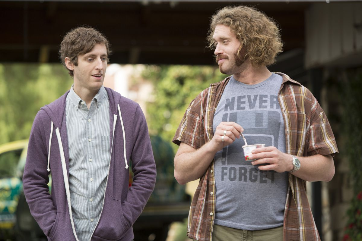 Thomas Middleditch and T.J. Miller in Silicon Valley