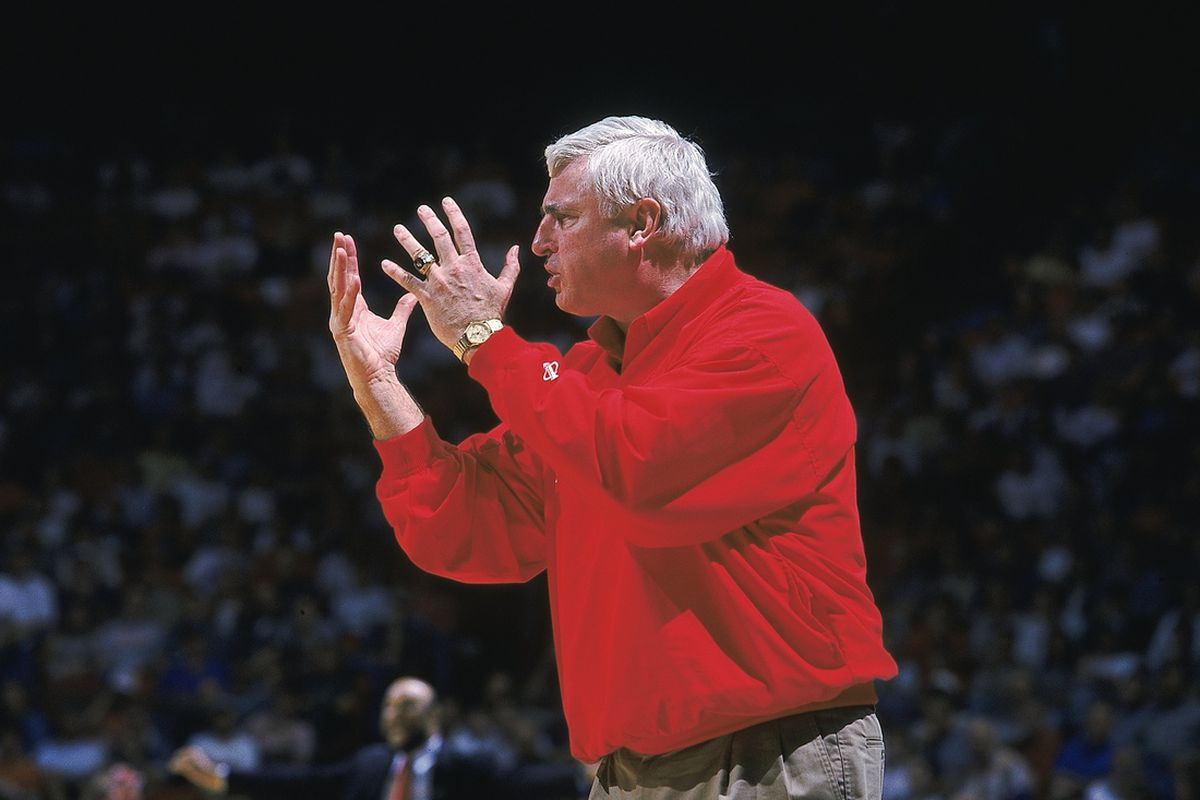 Bob Knight didn't look like this yet, but his 1975-76 IU team firmly entrenched Knight as a college basketball legend at age 35.  (Mandatory Credit: Jonathan Daniel /Allsport, via Getty Images subscription).