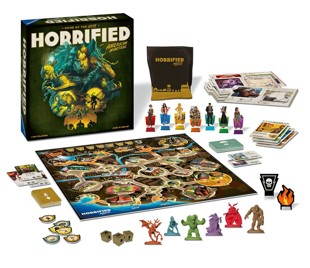 Press photos for Horrified: American Monsters showing the box art and bits.