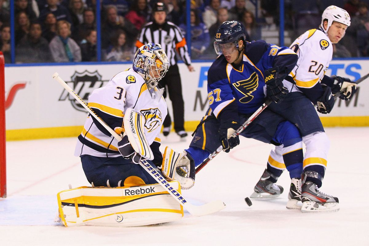 ST. LOUIS, MO - DECEMBER 30:  Pekka Rinne #35 of the Nashville Predators makes a save against David Perron #57 of the St. Louis Blues at the Scottrade Center  on December 30, 2011 in St. Louis, Missouri.  (Photo by Dilip Vishwanat/Getty Images)