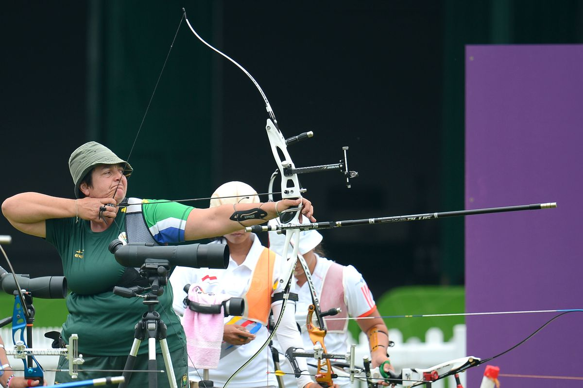 LONDON, ENGLAND - JULY 27:   Karen Anne Hultzer in action during the Female Archery Individual Ranking Round at Lords Cricket Ground on July 27, 2012 in London, England. (Photo by Roger Sedres/Gallo Images/Getty Images)