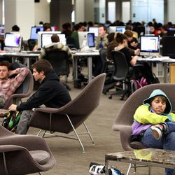 The traditional library has been replaced with computers and a comfortable atmosphere where students can hang out and even take a nap.