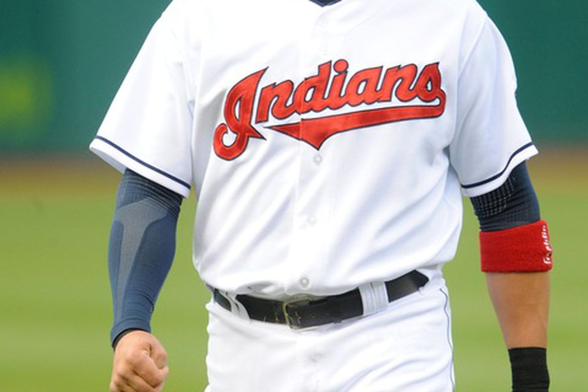 April 25, 2012; Cleveland, OH, USA: Cleveland Indians shortstop Asdrubal Cabrera (13) before the game against the Kansas City Royals at Progressive Field.  Mandatory Credit: Eric P. Mull-USPRESSWIRE