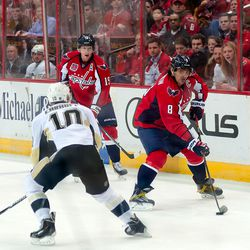 Ovechkin Tries to Pass Ehroff